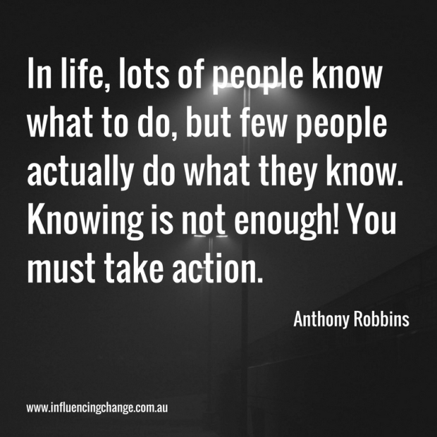 anthony robbins quote knowing doing